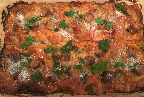 Spinach Mushroom Lasagna With Italian Sausage and Black Olives<br>Yields Two 9 x 15