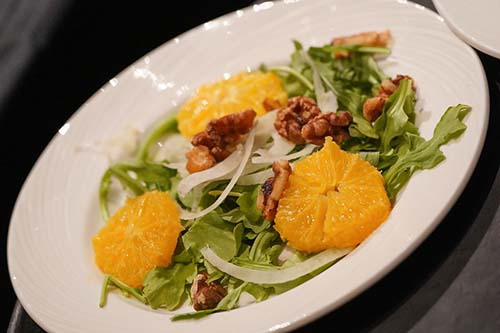 Sweet Fennel and Orange Salad with Toasted Walnuts in a Honey Sherry Vinegar Dressing